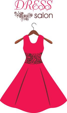 Red dress on hanger. Dress salon. Sign for fashion design