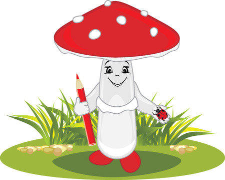 Funny cartoon amanita illustrations