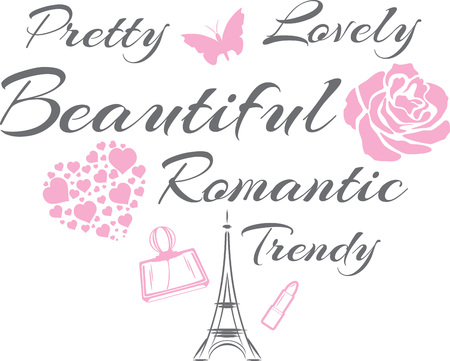 Pretty and lovely. Beautiful romantic design Stock Vector - 121487374