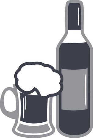 Beer mug and wine bottle. Icon for design Stock Vector - 122613725