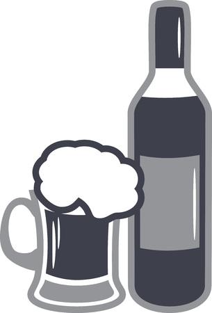 Beer mug and wine bottle. Icon for design