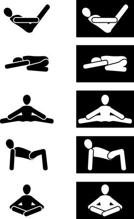 Yoga gymnastics. Five icons for design