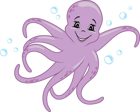 Funny smiling octopus Stock Vector - 122613724