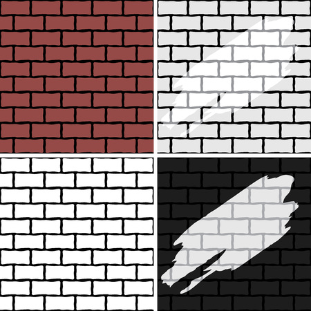 Brick wall. Four seamless patterns for design