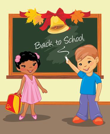 Back to school. Two happy children are standing near the school board