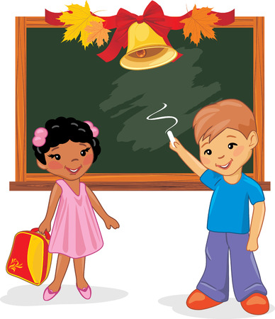 Two happy children are standing near the school board Illustration