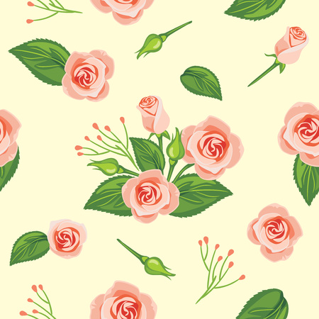 Seamless pattern with blooming pink rose Illustration