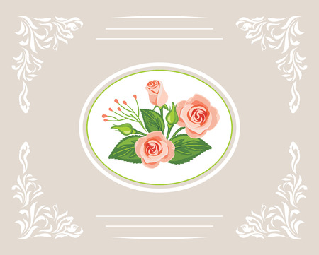 Greeting card with beautiful bouquet of pink roses