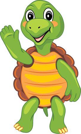 Funny cartoon turtle waving paw