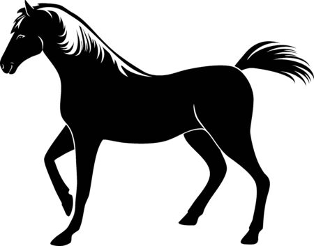 Horse silhouette. Mascot isolated on white