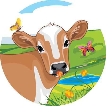Portrait of a cute calf with bright butterflies. Sticker Illustration