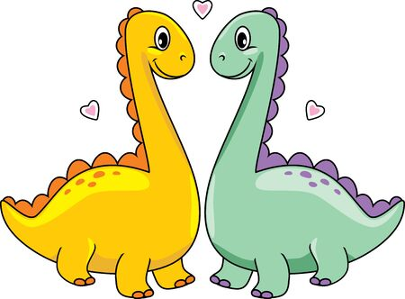 Two funny enamored dinos