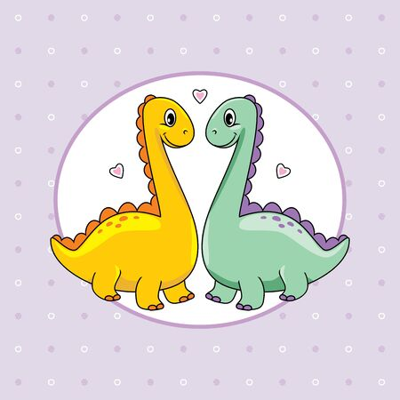 Two funny enamored dinos on abstract background for scrapbook Illustration