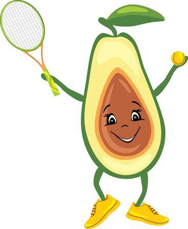 Happy avocado tennis player Illustration