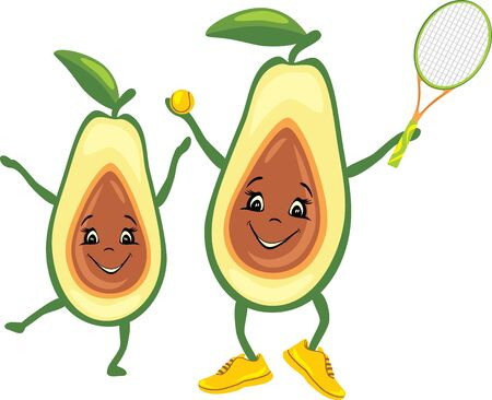 Happy avocado tennis player with his friend Illustration