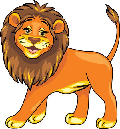 Cartoon smiling lion Illustration