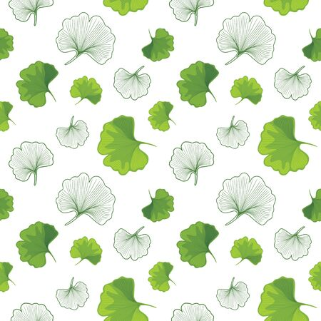 Green Ginkgo biloba and outlined leaves. Seamless pattern for design Illusztráció