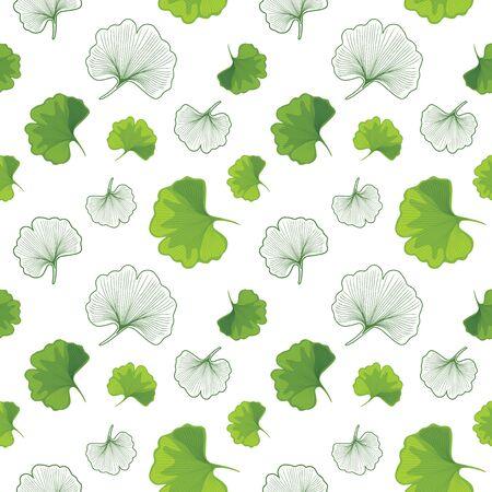 Green Ginkgo biloba and outlined leaves. Seamless pattern for design Illustration