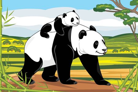 Panda mom and her baby on a landscape background Illustration