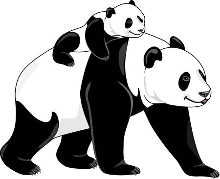 Joyful panda mom and her baby Illustration