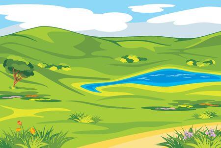 Spring valley. Landscape background