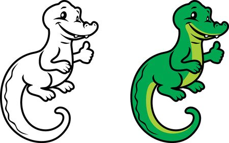Funny alligator for coloring