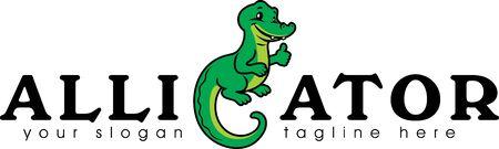 Funny alligator for logotype design Illustration
