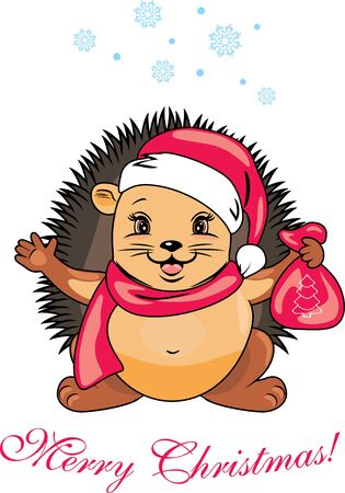 Happy Santa hedgehog with a christmas gift