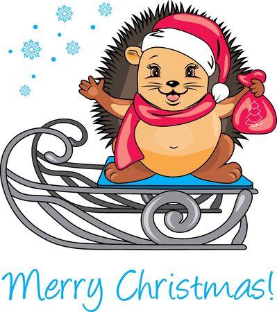 Happy Santa hedgehog on a sled