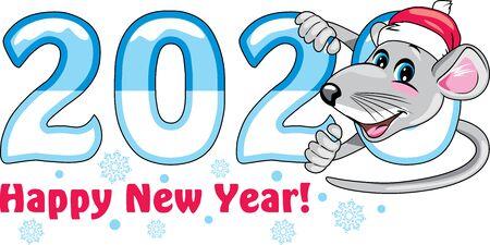 Funny rat. Symbol of the year. Greeting card Illustration
