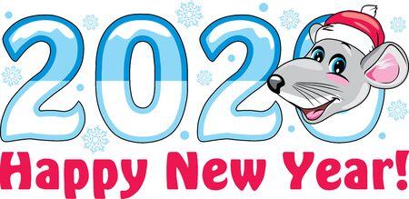 Funny Santa rat. Symbol of the year. Greeting card Stock Vector - 133928159