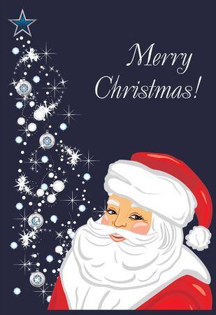 Smiling happy Santa on Christmas tree background. Postcard