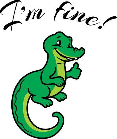 Happy alligator. Design for t-shirt Illustration