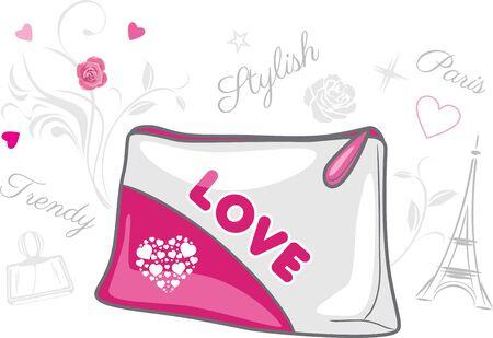 Stylish cosmetic bag in vintage design Illustration