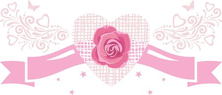 Decorative pink ribbon with rose. Vintage element for festive design Illustration