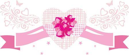 Decorative pink ribbon with flowers. Vintage element for festive design Illustration
