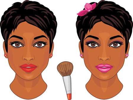 Casual and festive makeup for dark skin type