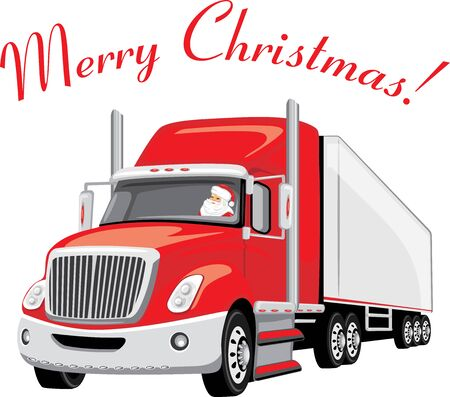 Red truck with Santa Claus on board. Christmas delivery