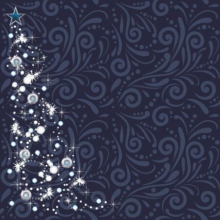 Shining Christmas tree on the dark blue ornamental background