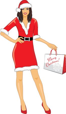 Smiling Santa girl with a Christmas shopping bag in hand