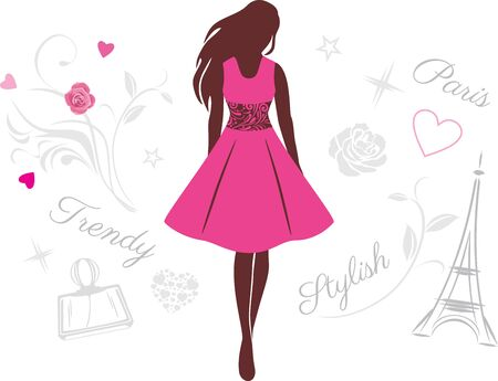 Female silhouette in a pink dress Stock Vector - 136017096