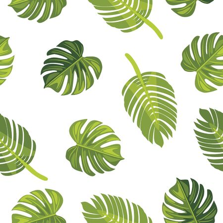Seamless pattern with tropical leaves Stock Vector - 136017099