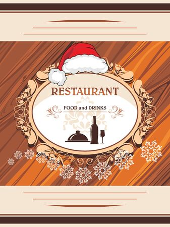 Restaurant menu. Decorative label for Christmas design