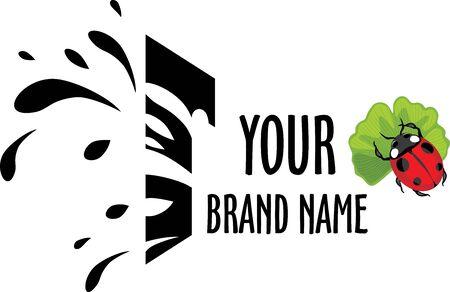 Ladybug on ginkgo biloba leaf. Design for logo
