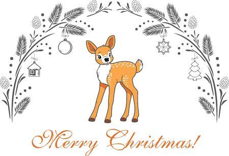 Christmas greeting card with cute baby deer
