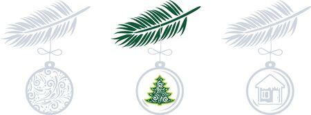 Set of Christmas toys on spruce twigs isolated on white. Vintage design Illustration