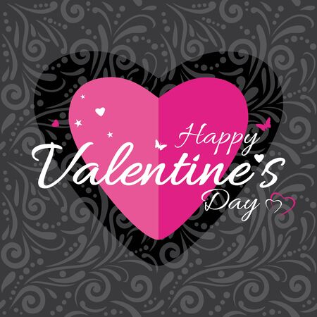 Dark gray ornamental background with pink heart. Label to the Valentines Day