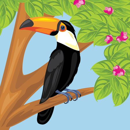 Proud toucan on a branch of a flowering tree Stock Vector - 137530236