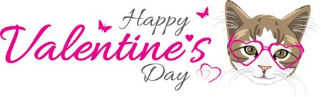 Cute kitten in pink glasses. Festive design for valentines day Illustration