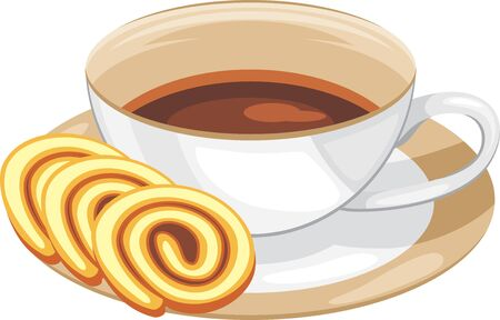 Cup with coffee and slices of chocolate roll cake Illustration